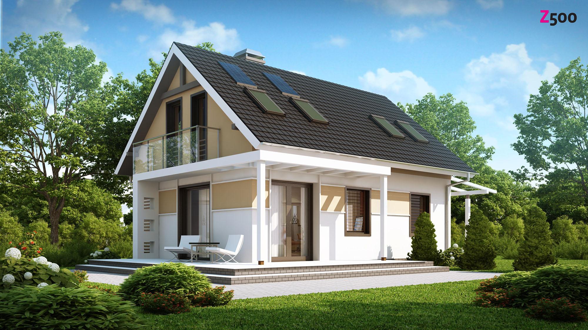Дом с темной крышей