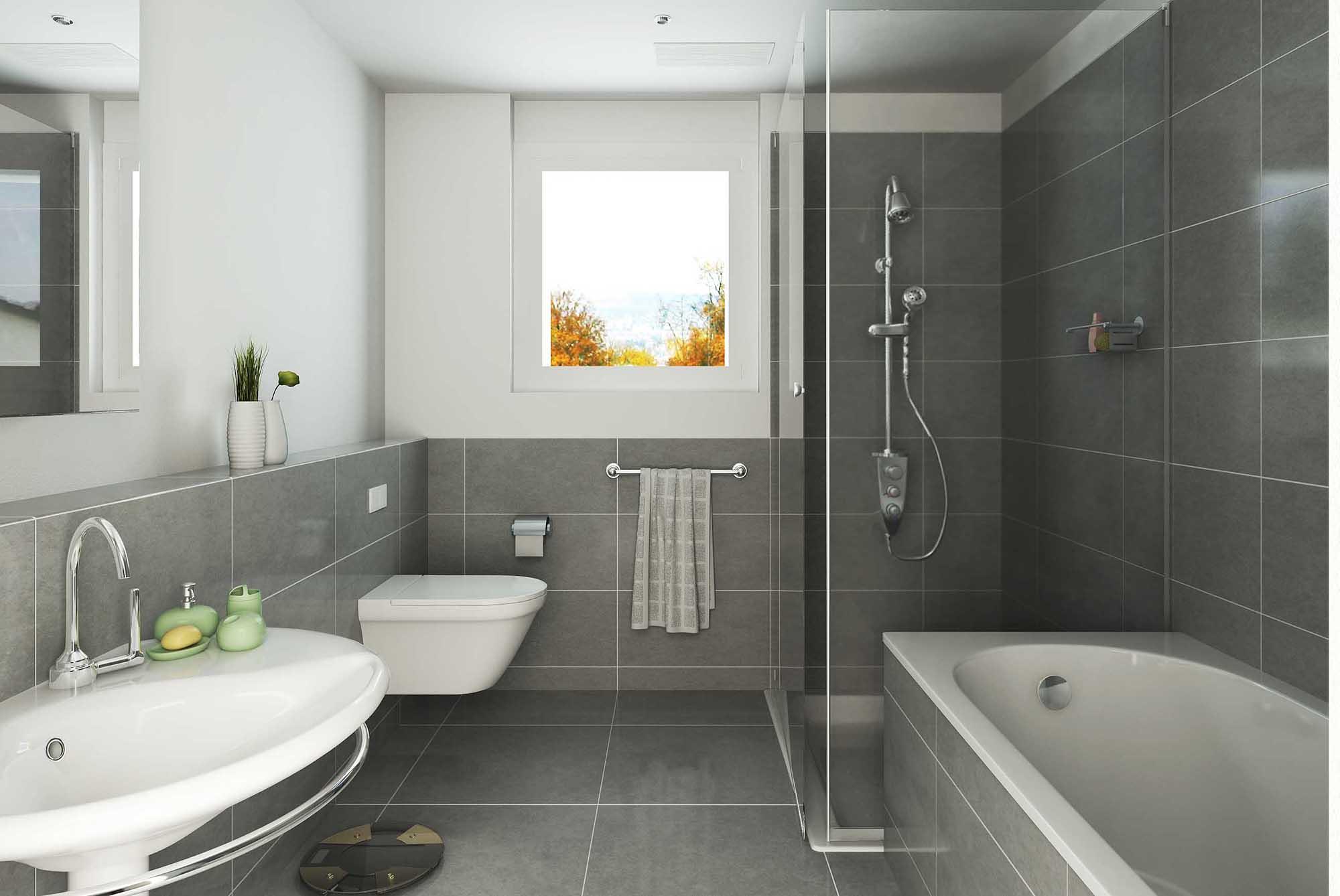 Чистая бело-серая ванная комната