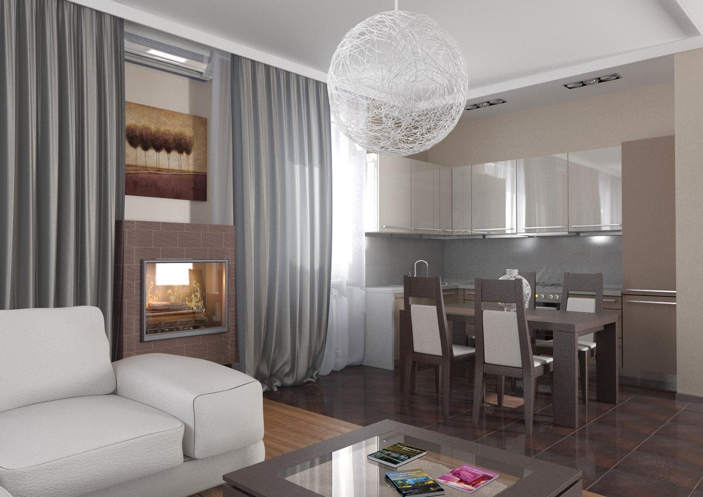 Подвесной потолок в гостиной-кухне
