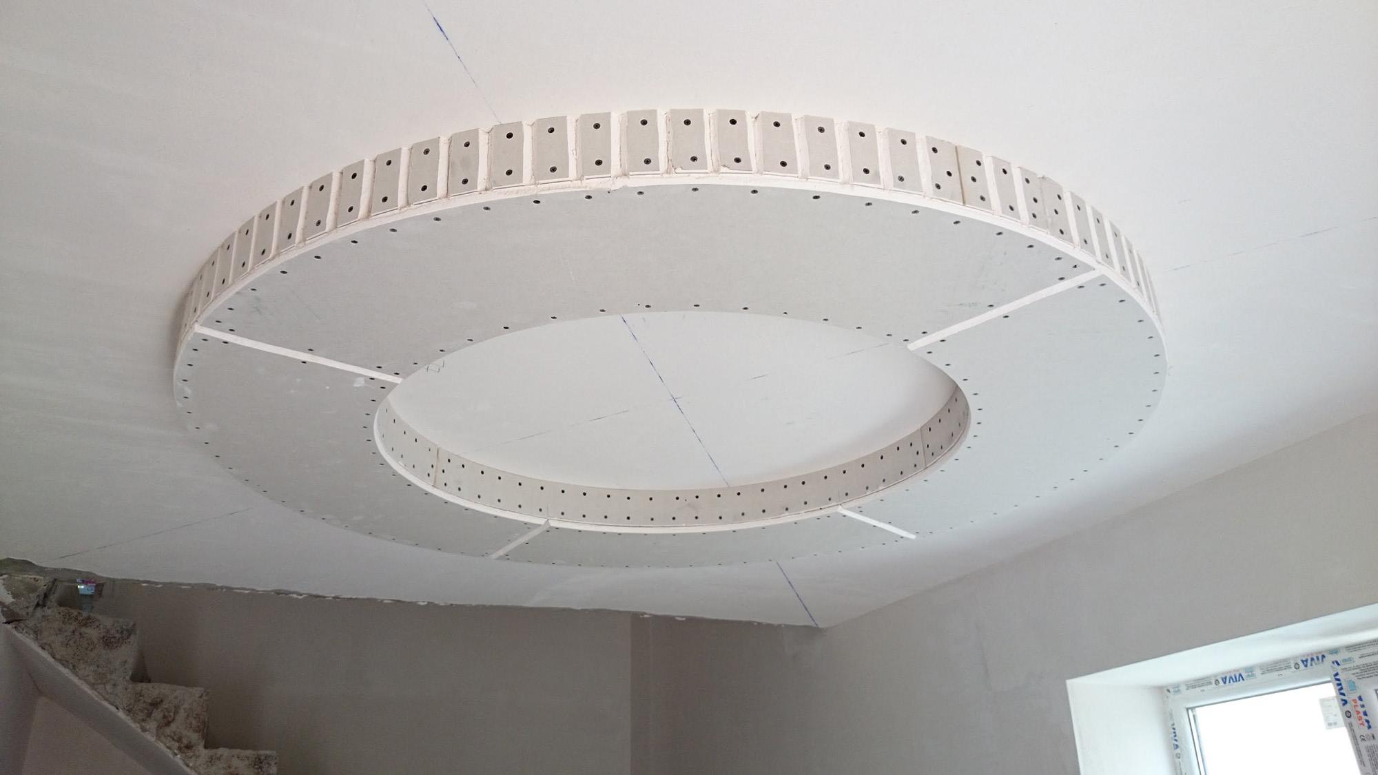Подвесной потолок из гипсокартона с круглым элементом