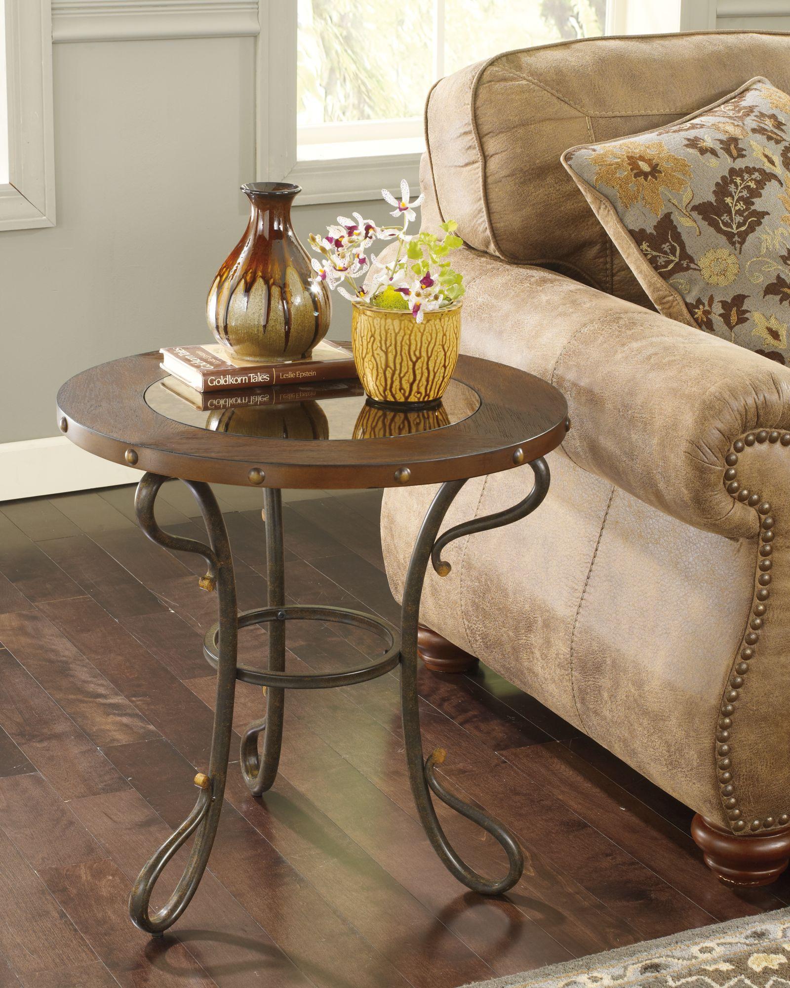 Коричневый кованый кофейный столик