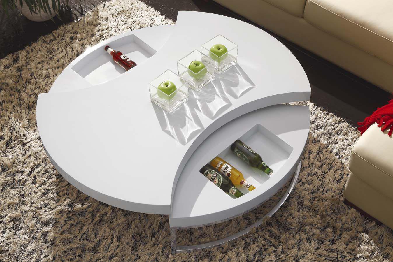 Круглый белый кофейный столик-трансформер