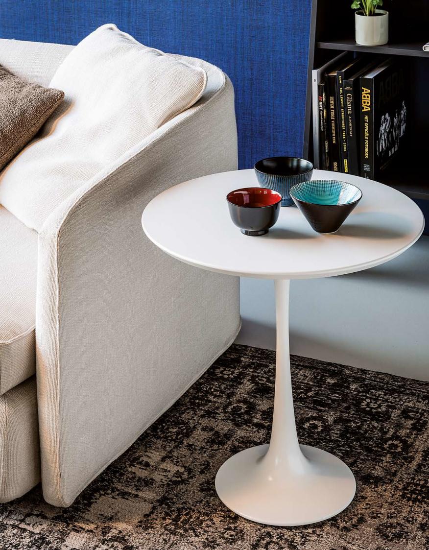 Круглый белый кофейный столик