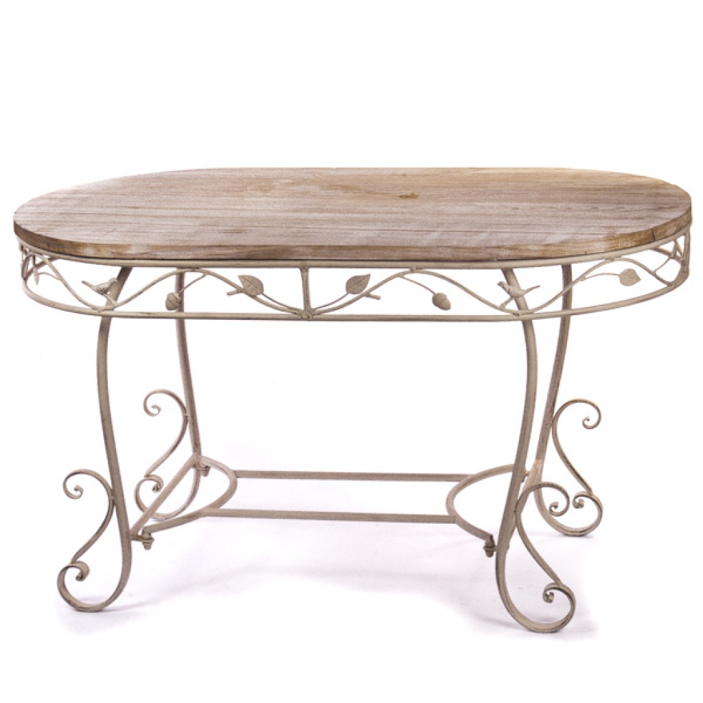 Светлый кованый кофейный столик