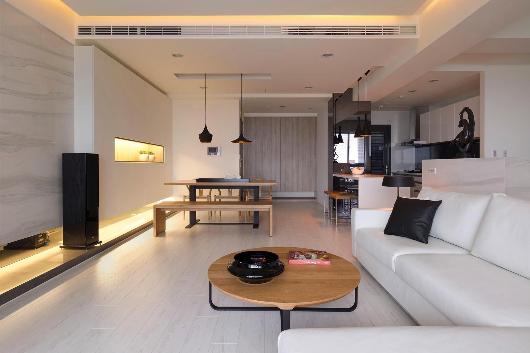 Зонирование гостиной и кухни в стиле лофт