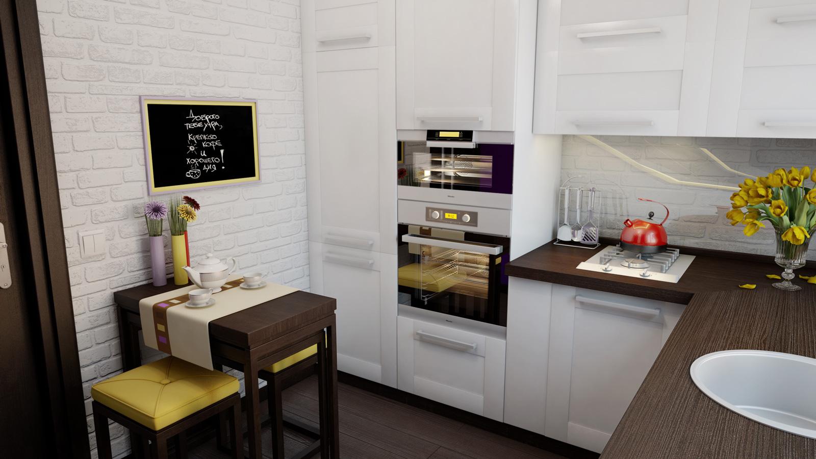 Бело-коричневая мебель для маленькой кухни