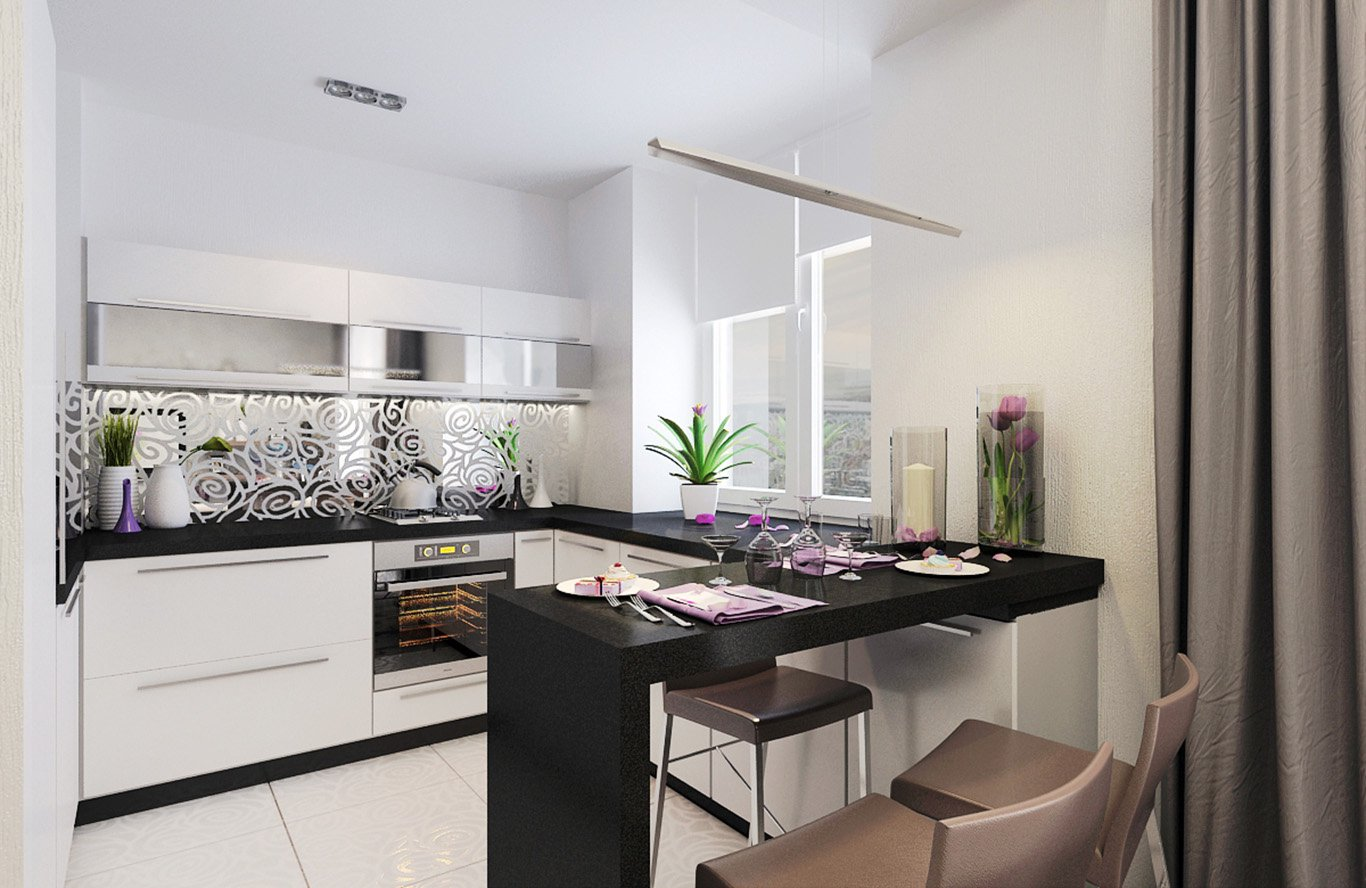 Черно-белый гарнитур на кухне