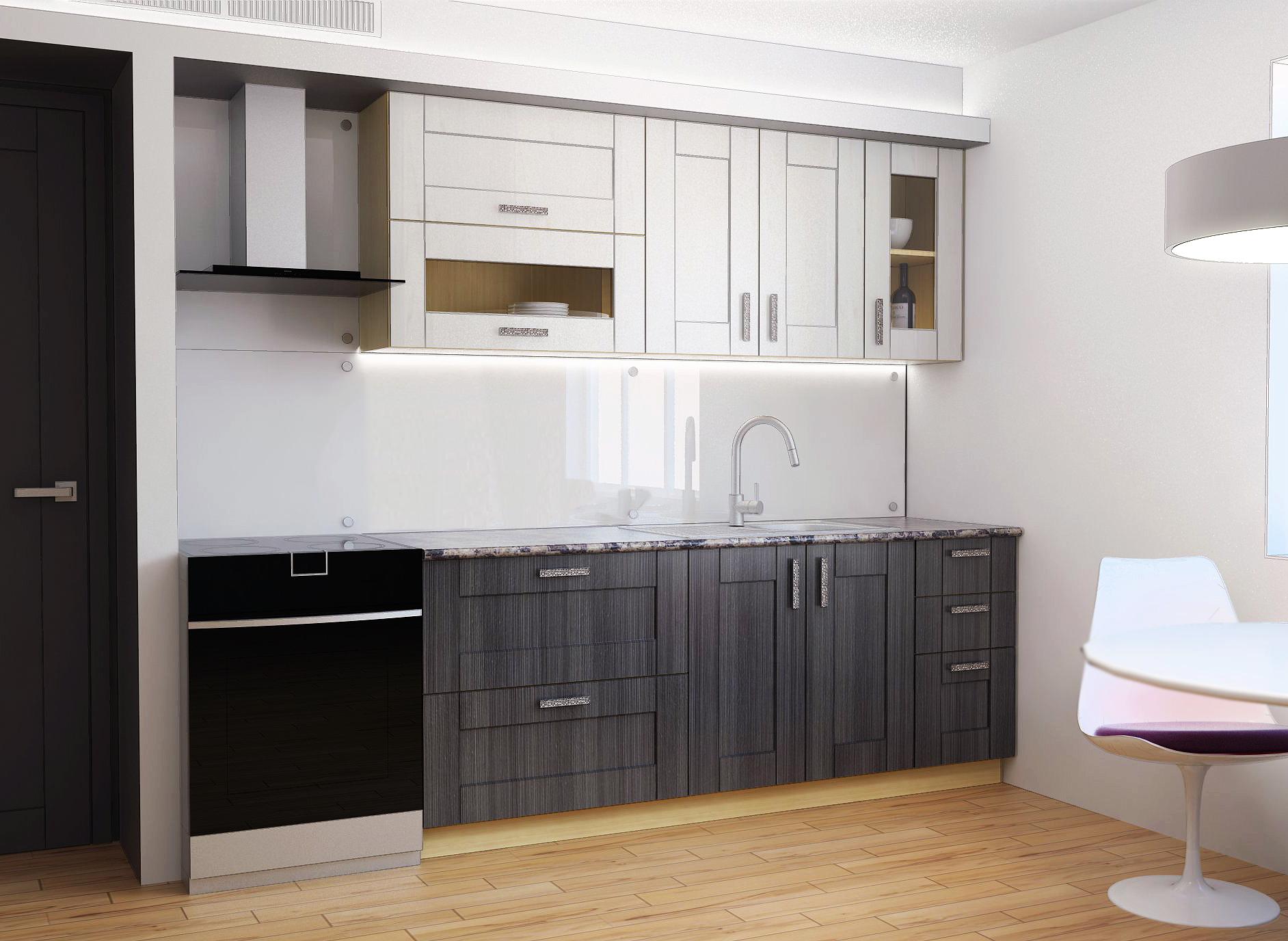 Модульный черно-белый гарнитур на кухне