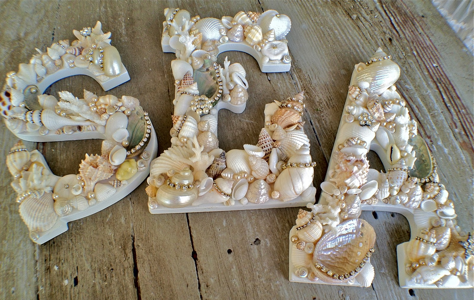 Буквы с ракушками для интерьера