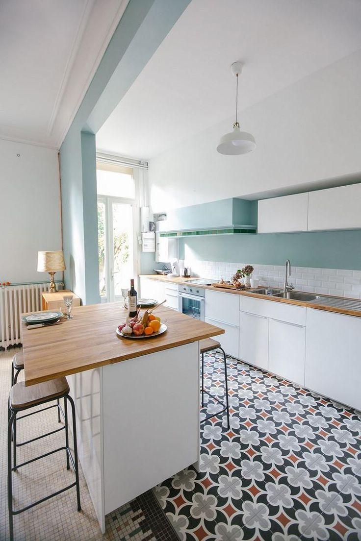 Зонирование гостиной и кухни в стиле ретро