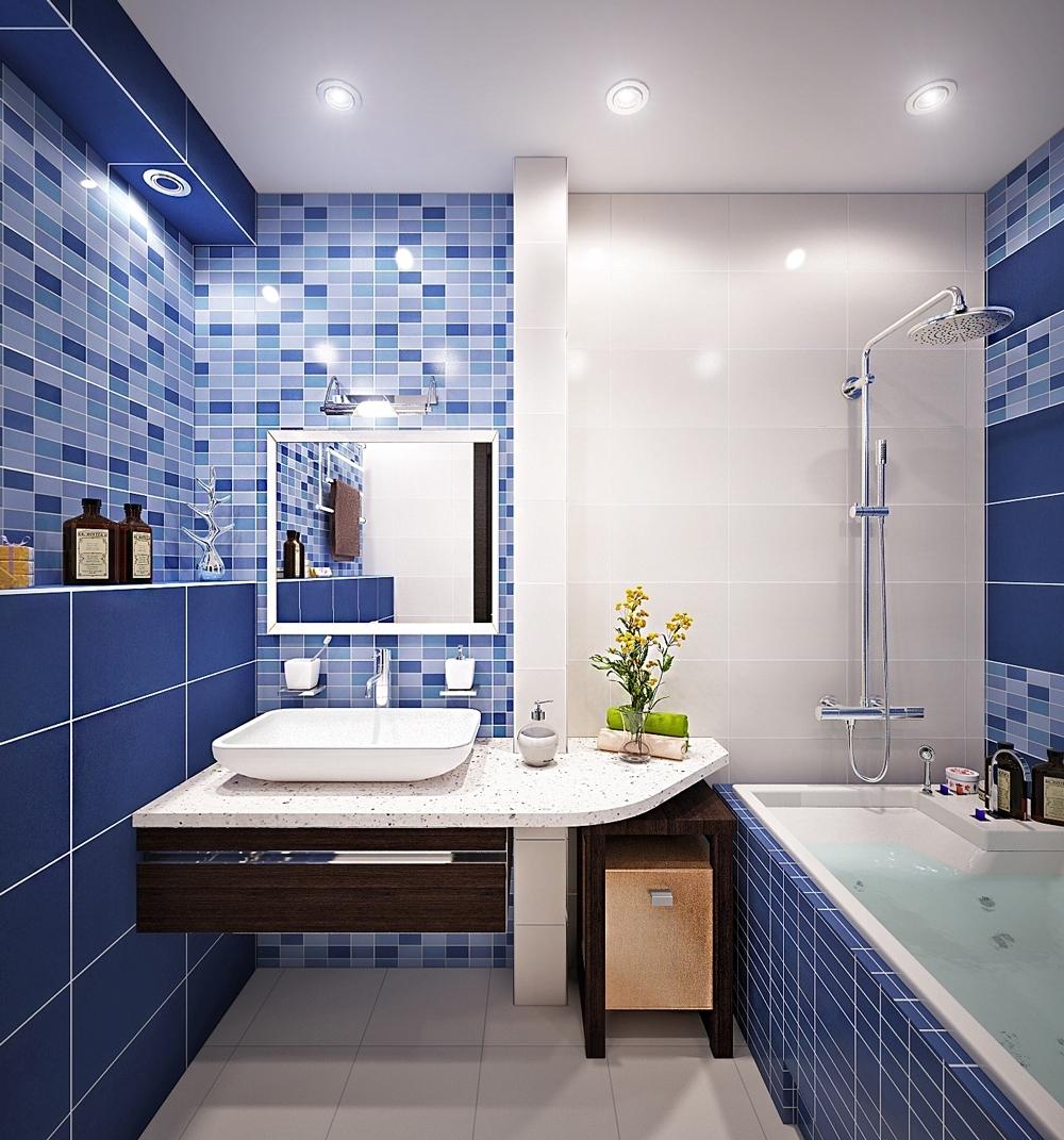 Синяя и белая плитка в ванной