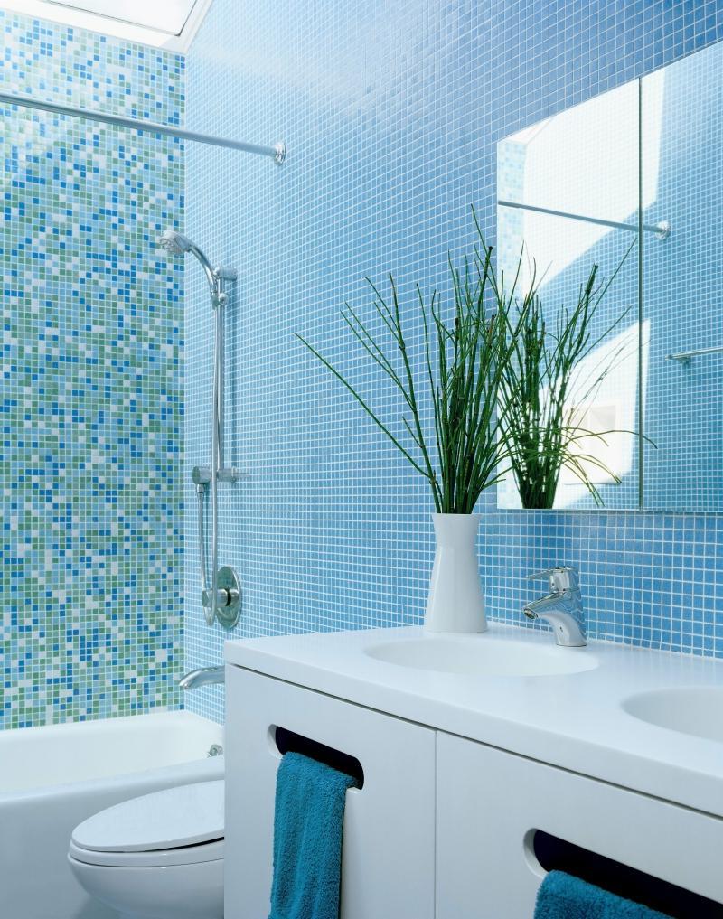 Сине-голубая ванная комната