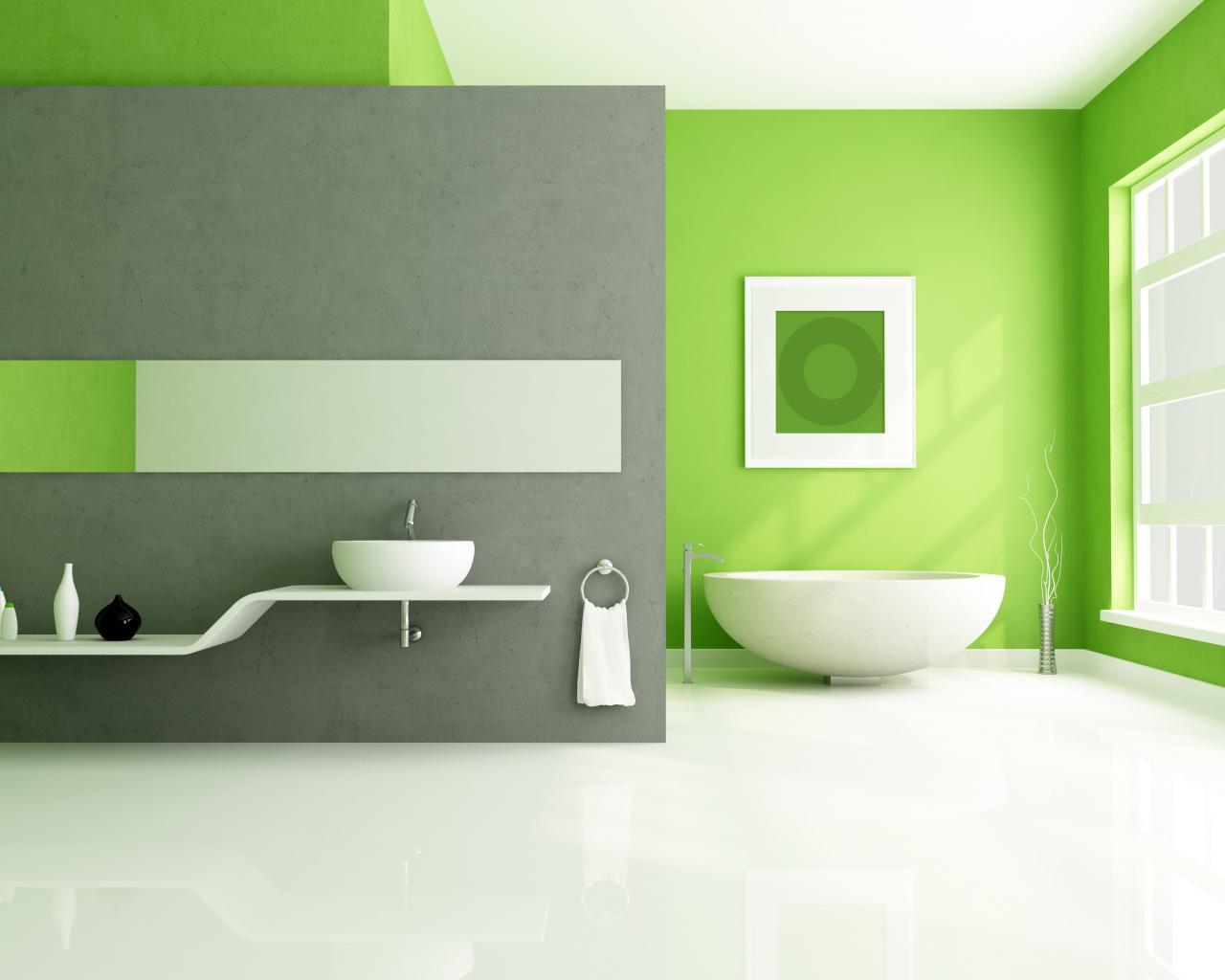Зеленая ванная в стиле хай-тек