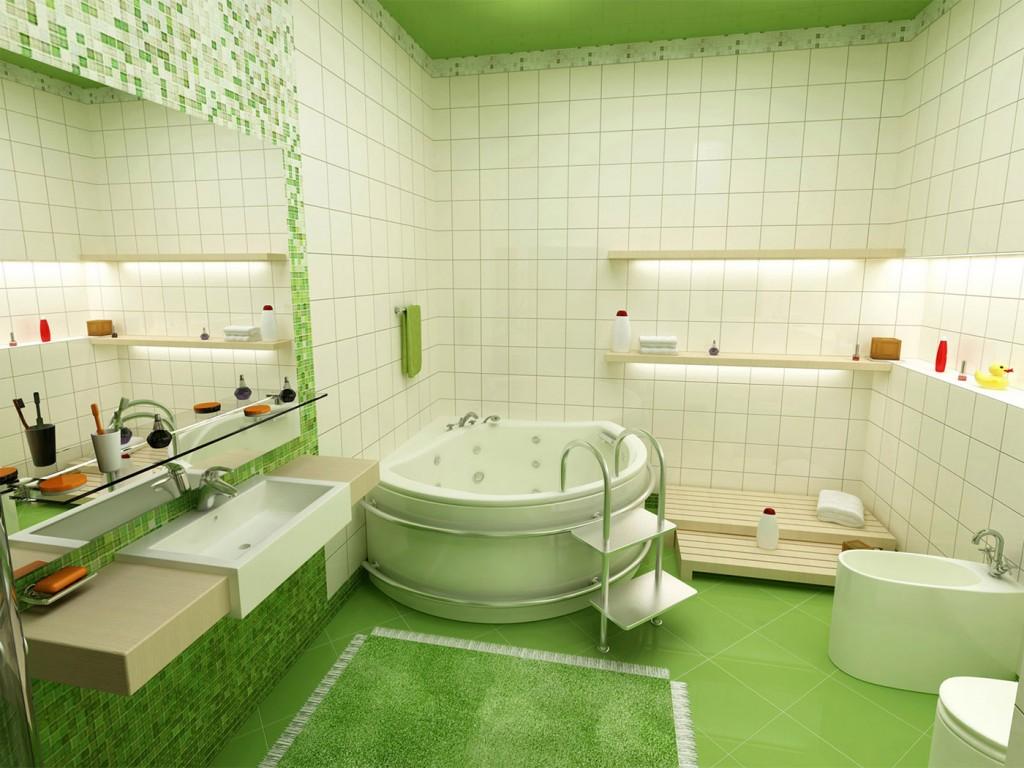 Просторная бело-зеленая ванная комната