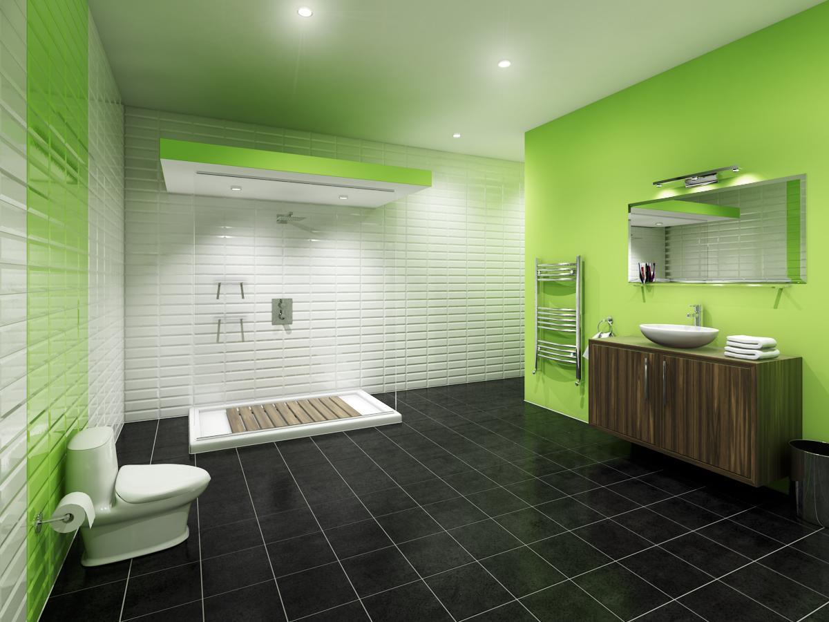 Черный пол в бело-зеленой ванной