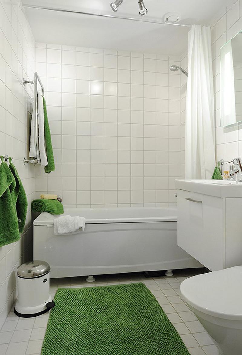 Зеленые аксессуары в ванной