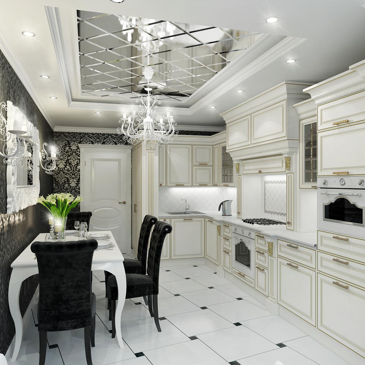 Зеркальный потолок в черно-белой кухне