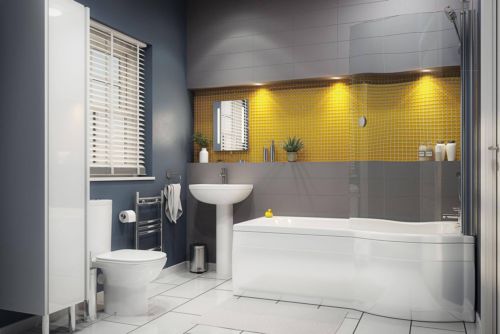 Серо-желтая ванная комната