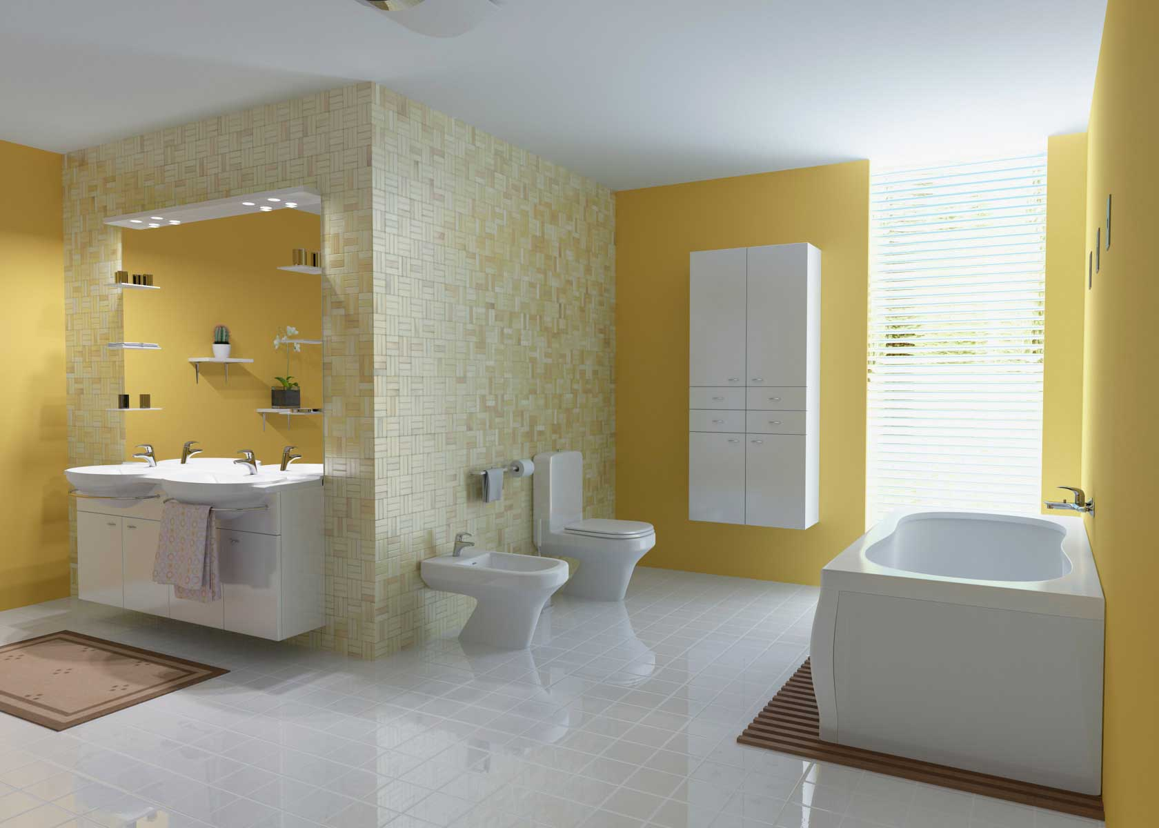 Большая бело-желтая ванная