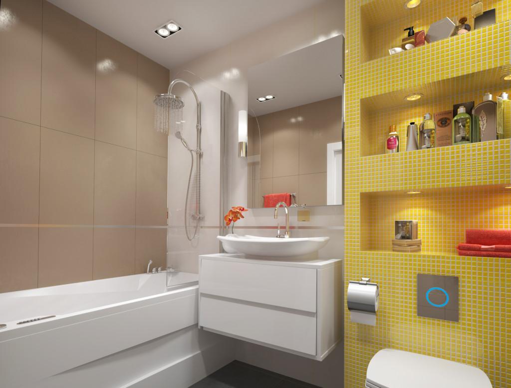 Желтая мозаика в ванной комнате