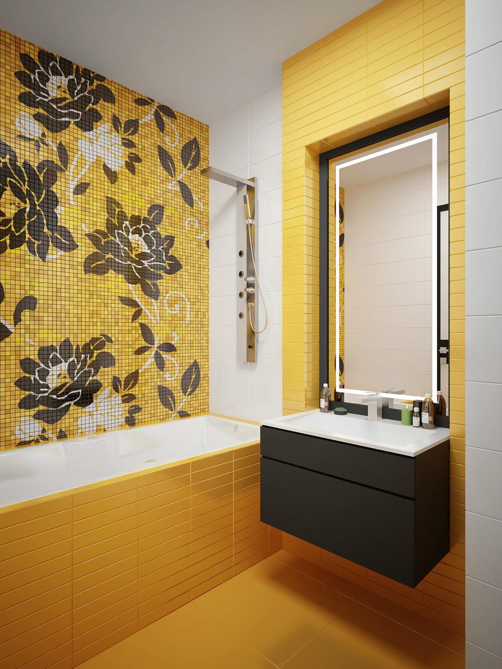 Желто-черно-белая маленькая ванная комната