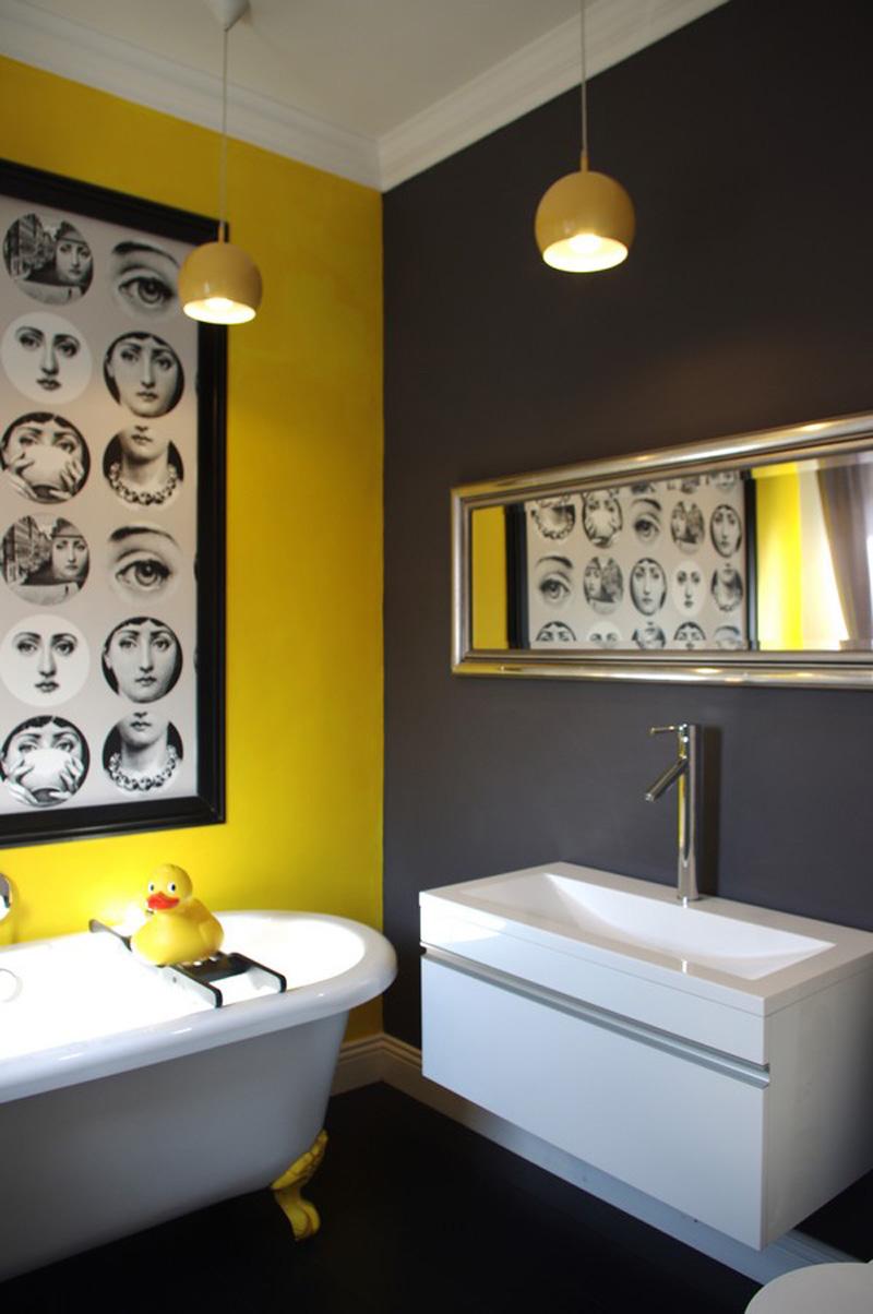 Современная желто-черно-белая ванная комната