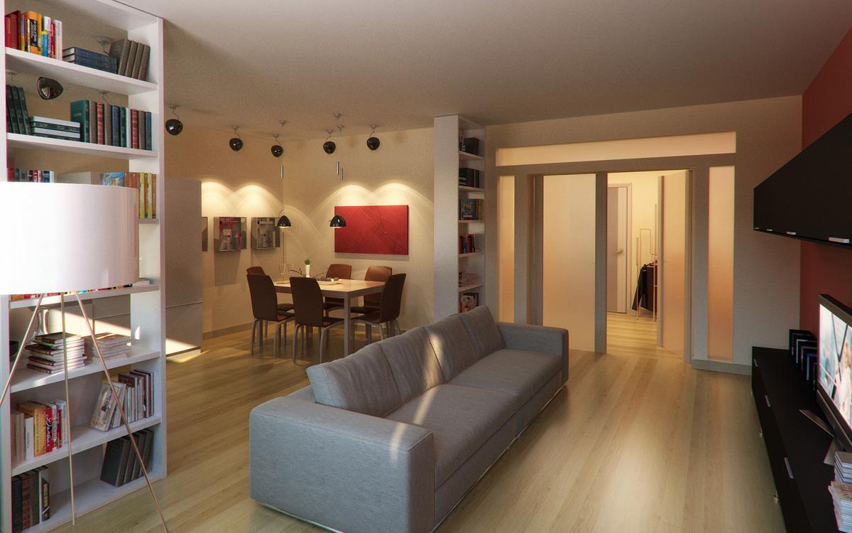 Просторная кухня-гостиная со шкафами
