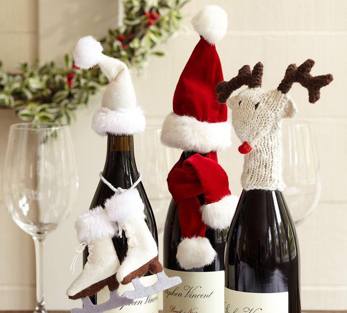 Идеи новогоднего декора бутылки шампанского (52 фото)