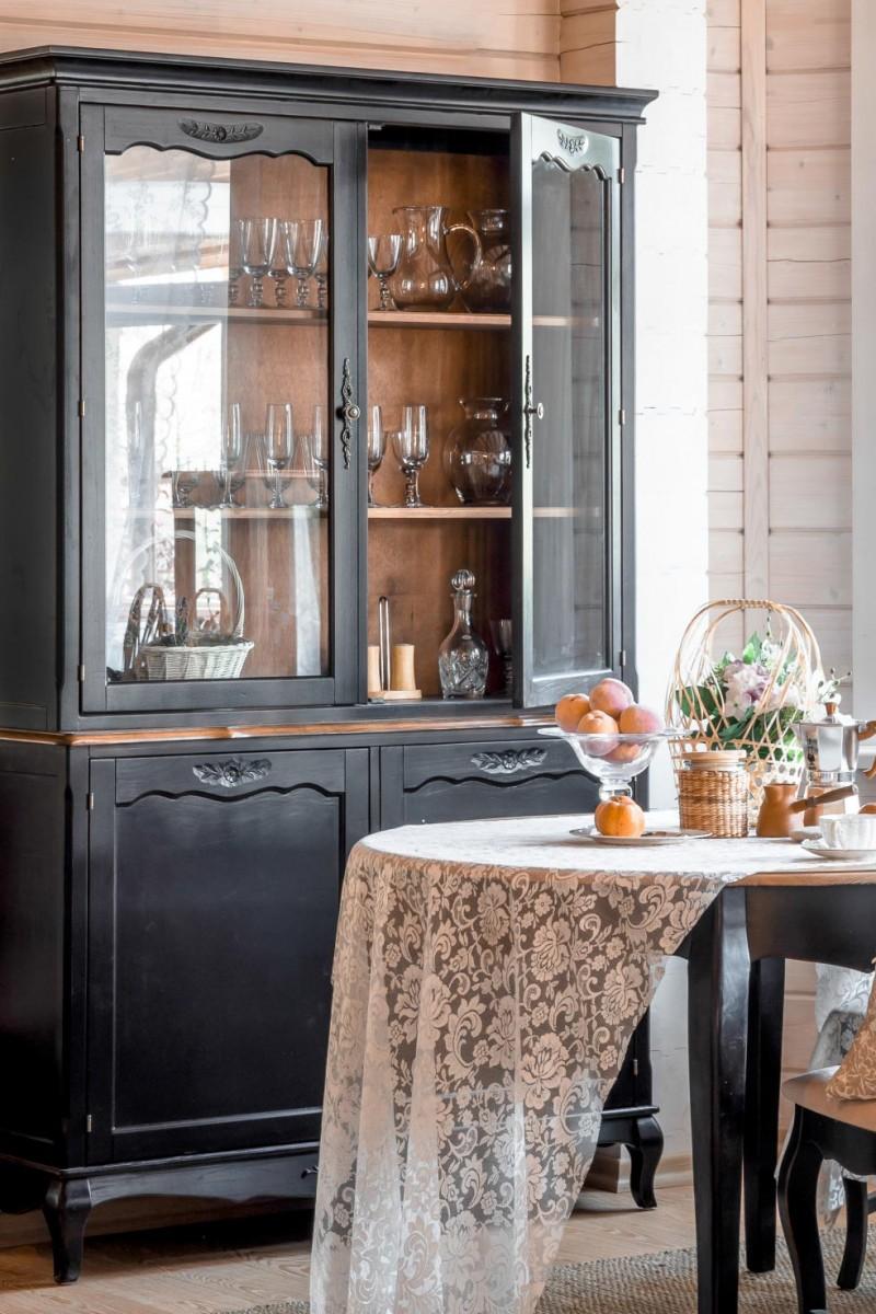 Буфет в гостиную черный в стиле прованс