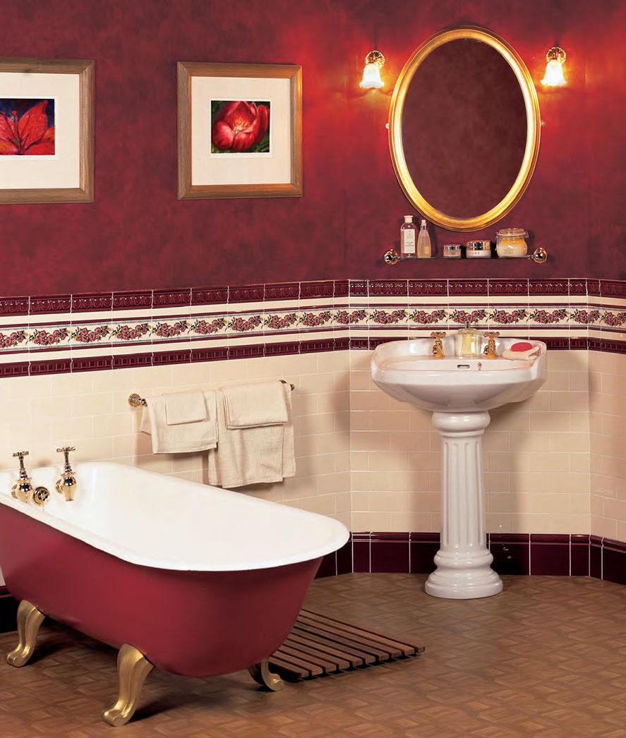 Красная ванная на изогнутых ножках