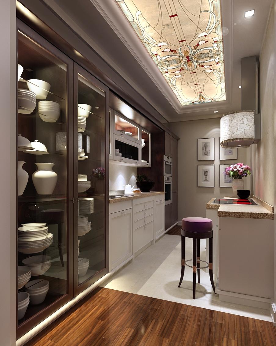 Узкая кухня в стиле арт-деко