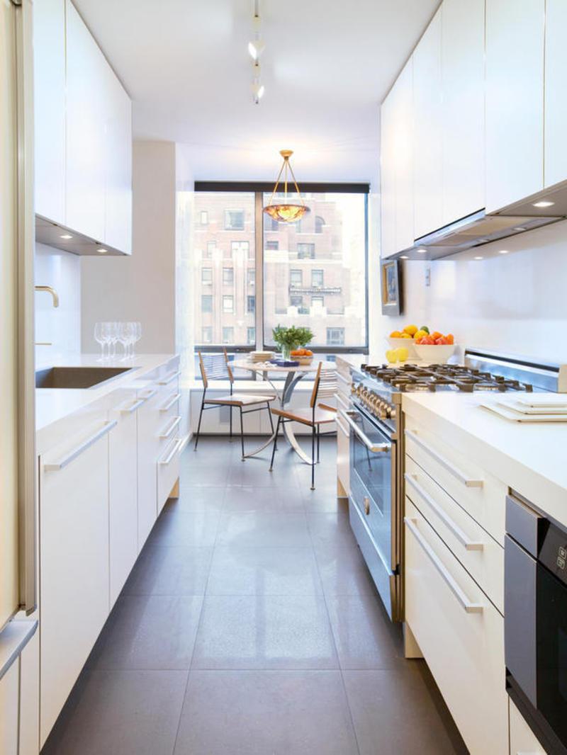 Двухрядная планировка узкой кухни