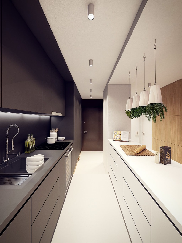 Черно-белая узкая кухня