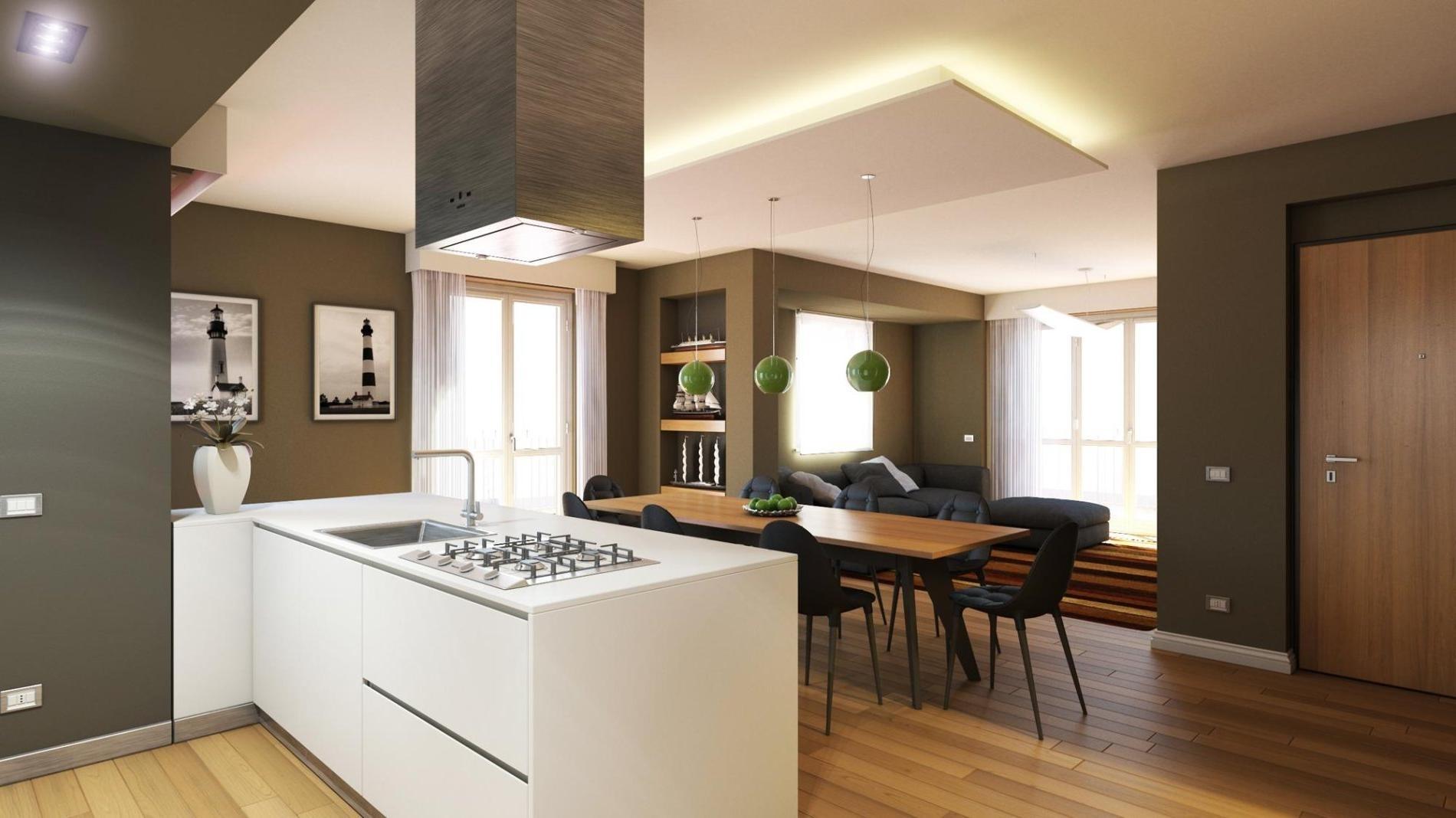 Подсветка гипсокартонной конструкции на кухне