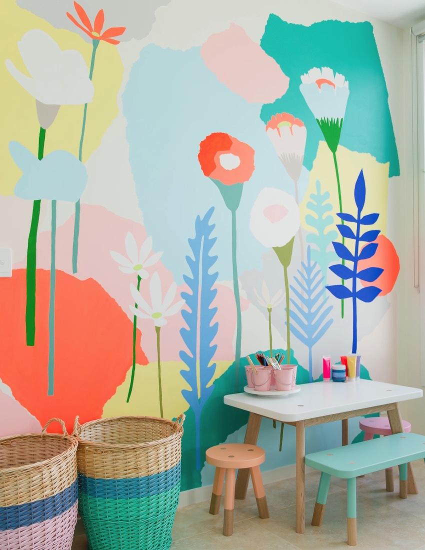 Необычная покраска стен в детской