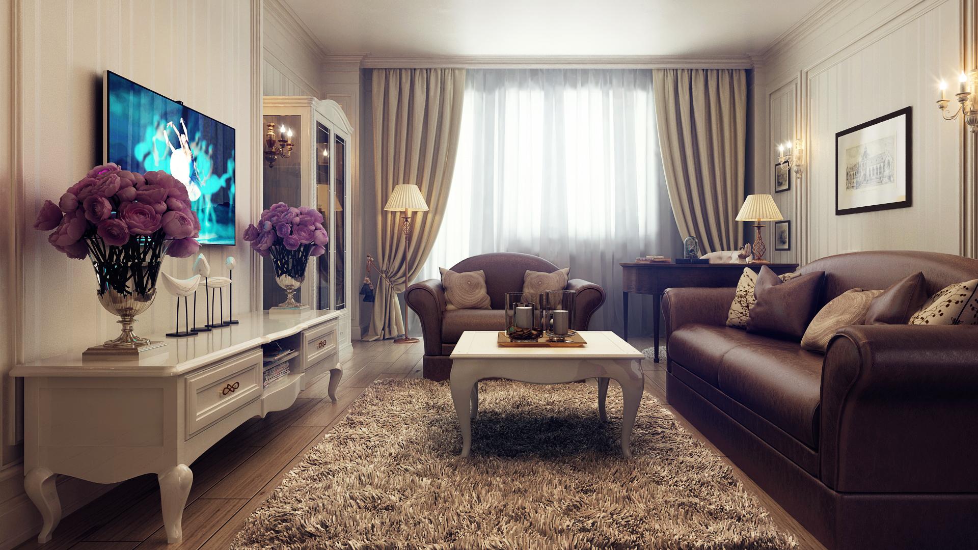 Коричневая мебель и бежевые обои в гостиной