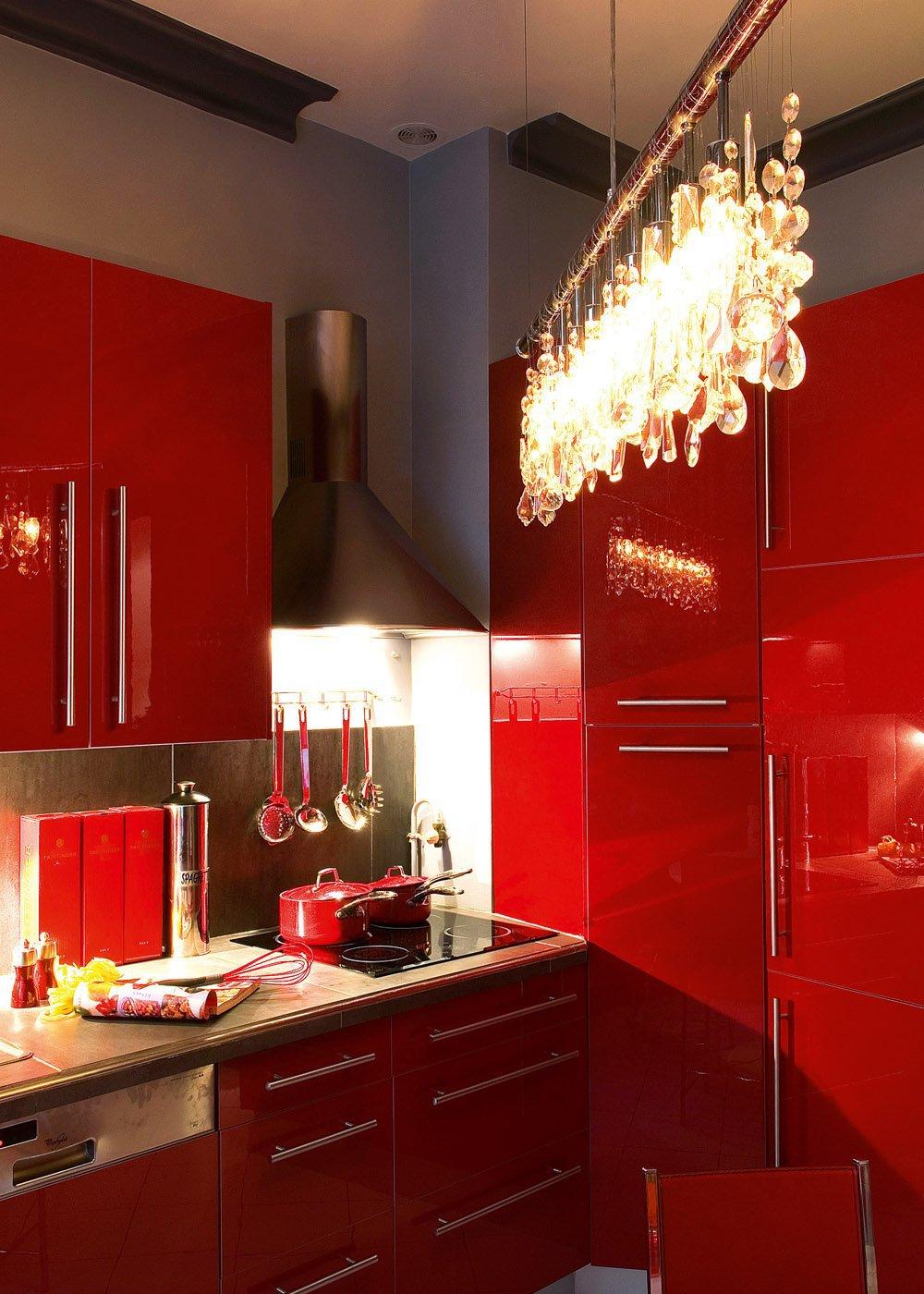 Подсветка кухонного гарнитура люстрой