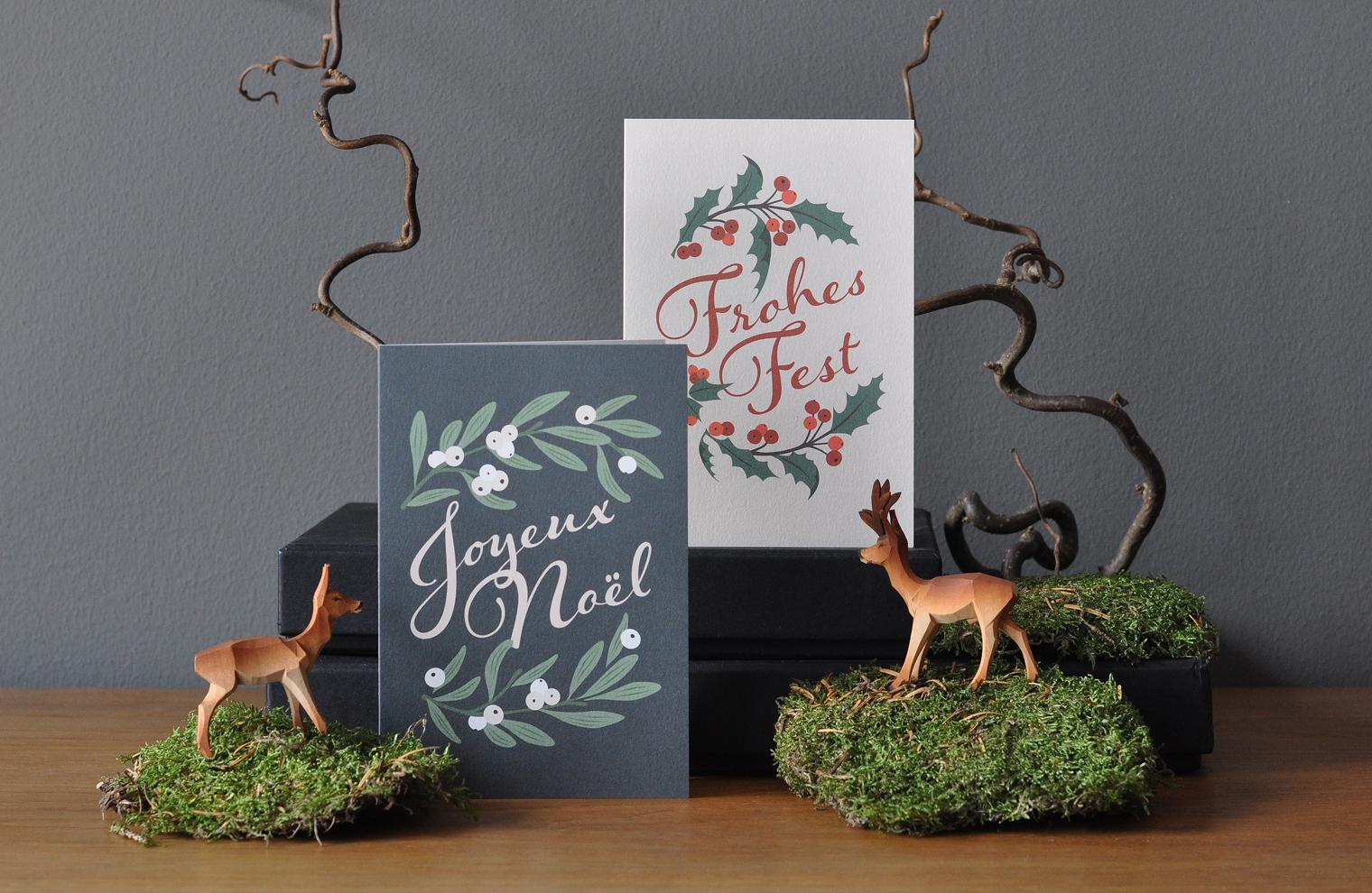 Новогодние бумажные открытки