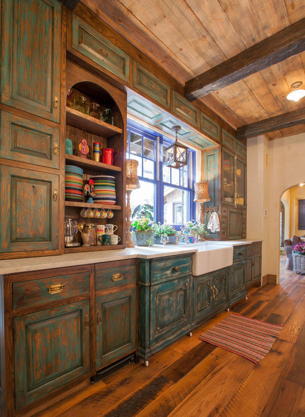 Подсветка кухонного гарнитура рустикального