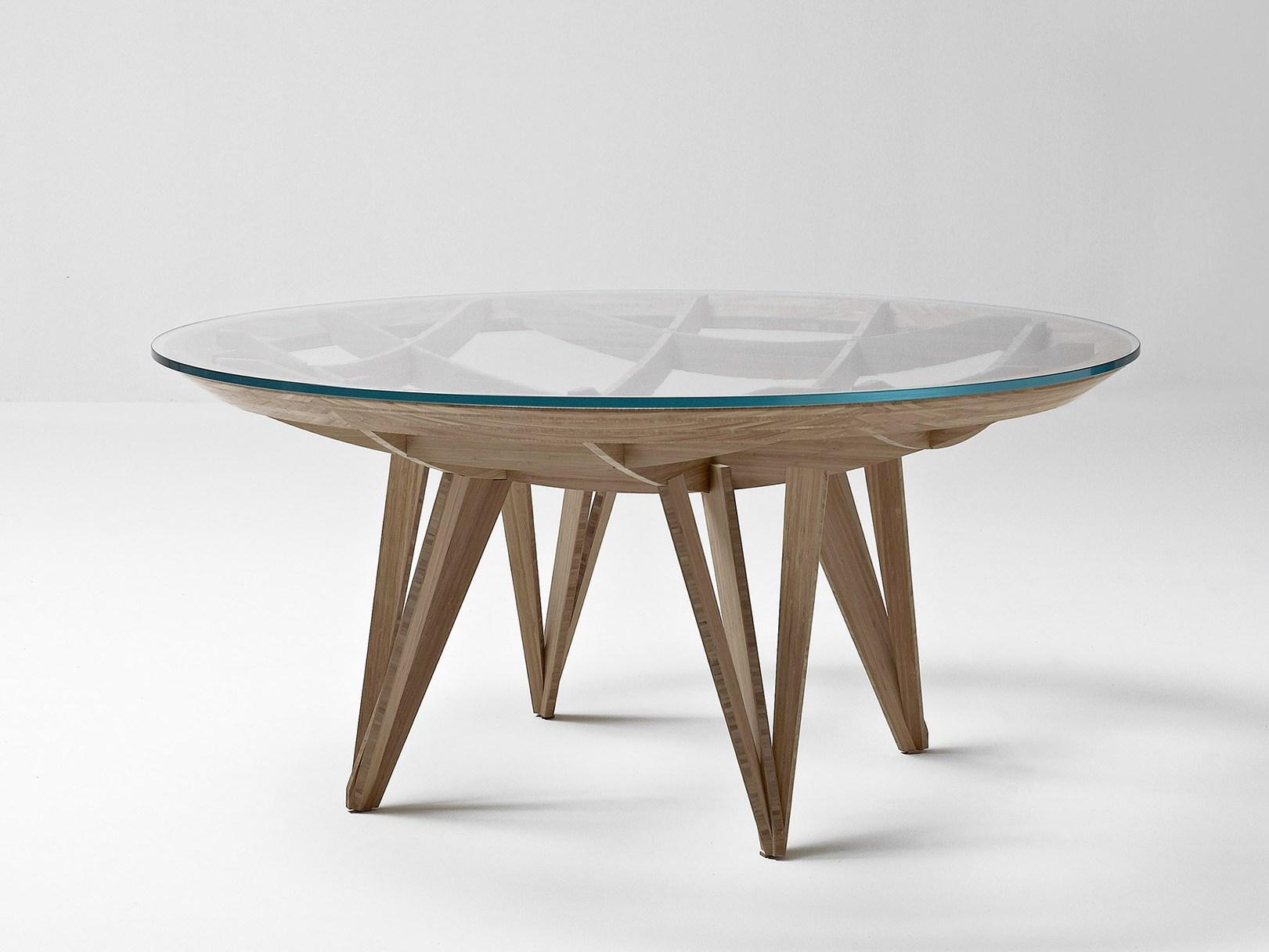 Модный круглый стол из дерева и стекла