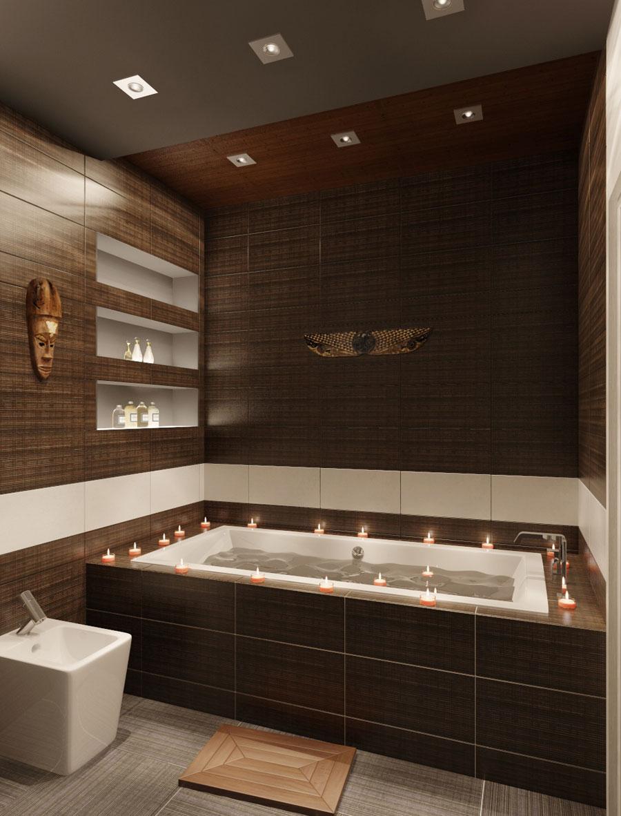 Коричнево-белая ванная