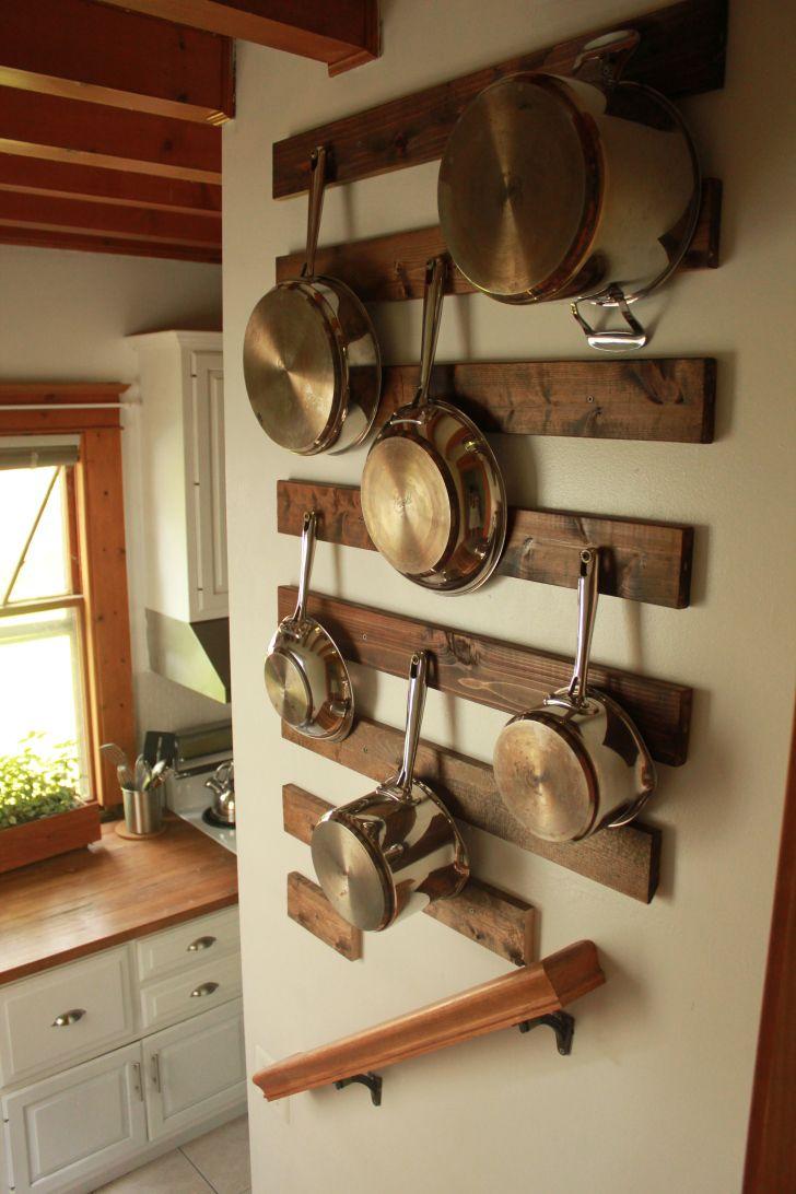Рейлинг для кухни из досок