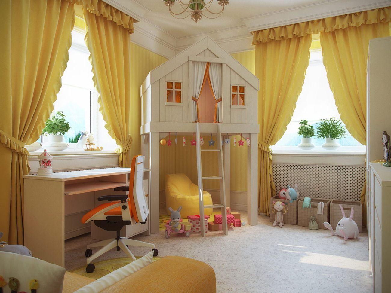 Интерьер детской комнаты в желтом цвете: солнечное настроение (25 фото)