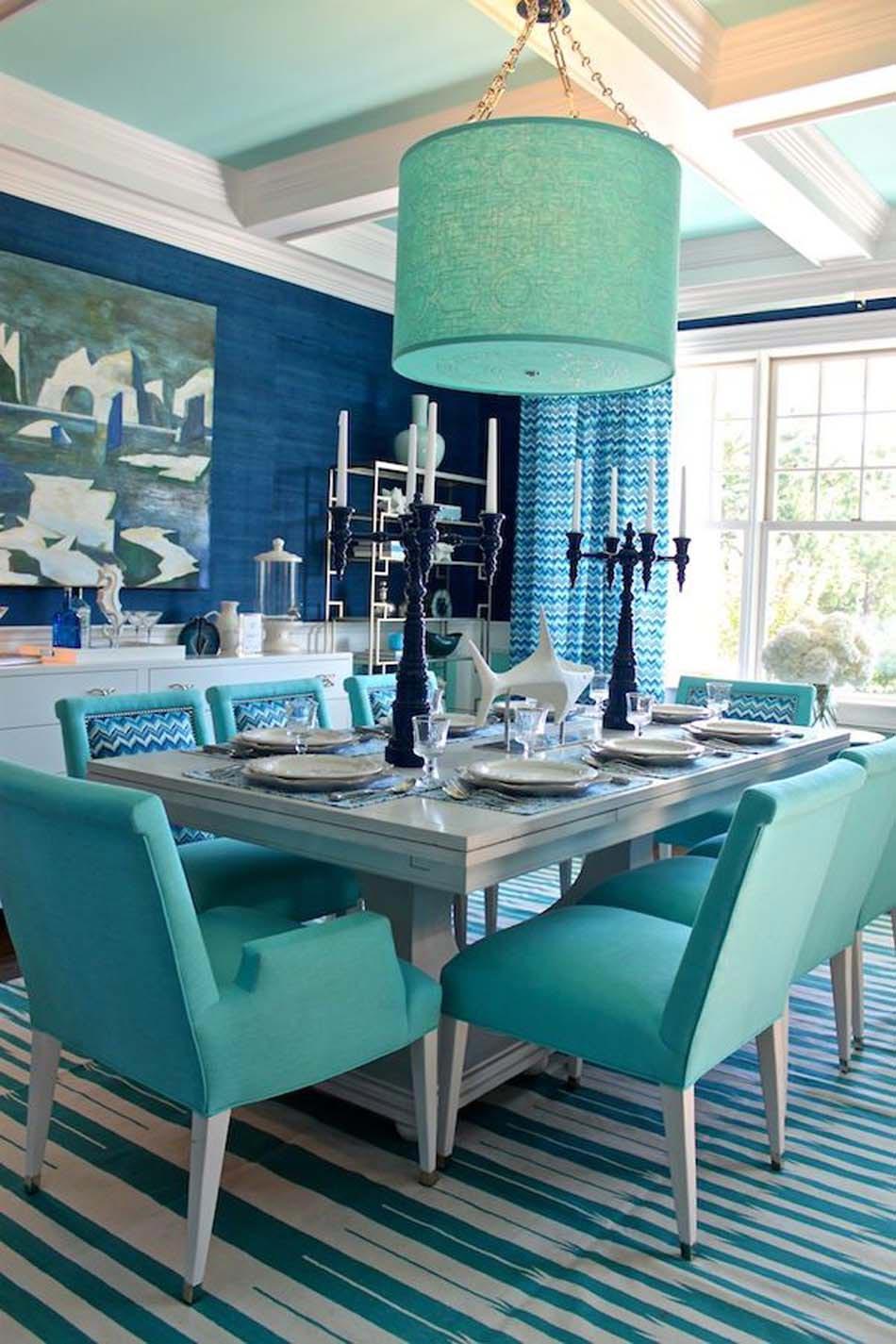 Дизайн бирюзовой гостиной в доме
