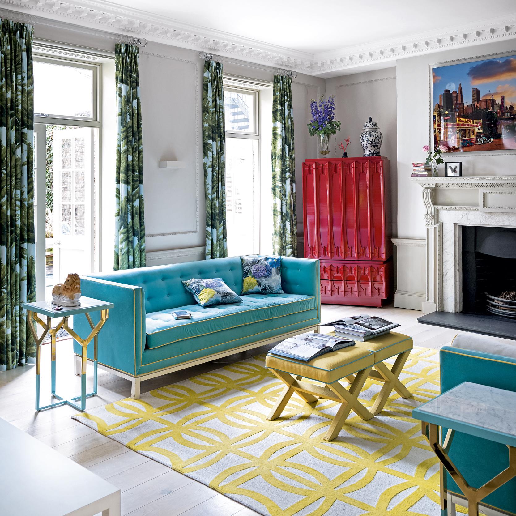 Дизайн бирюзовой гостиной модерн
