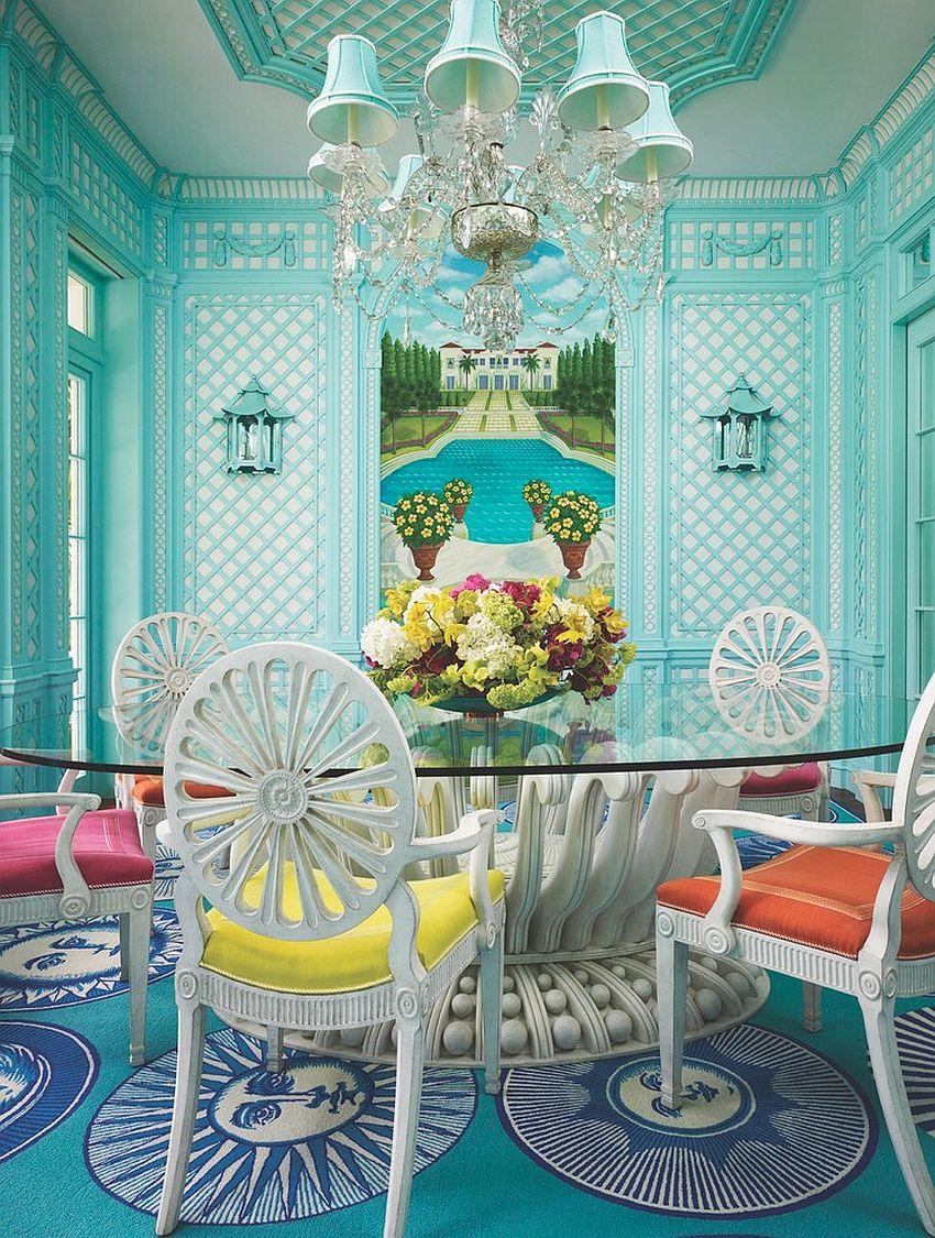 Дизайн бирюзовой гостиной с молдингами