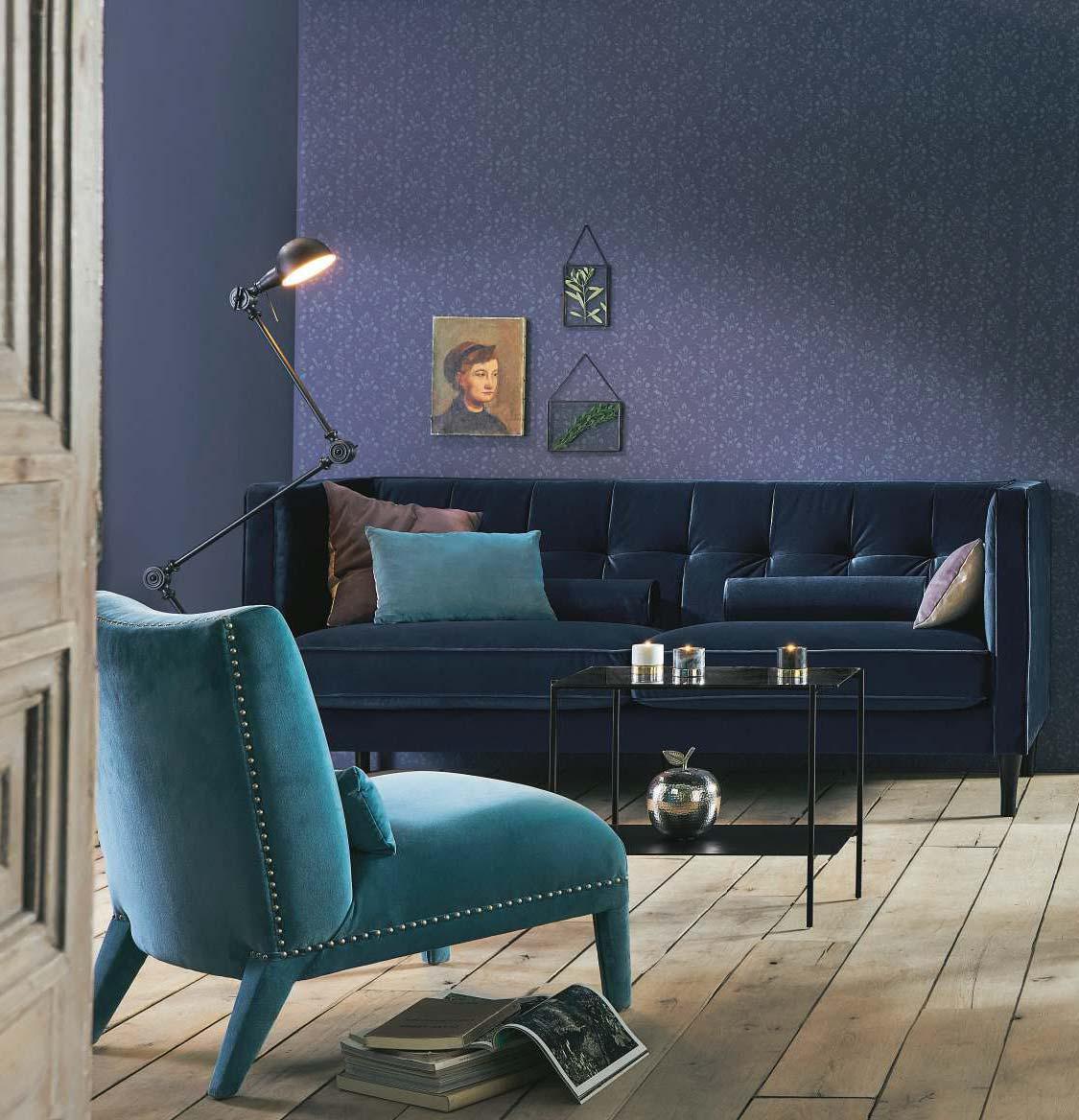Дизайн синей гостиной с бирюзовой мебелью
