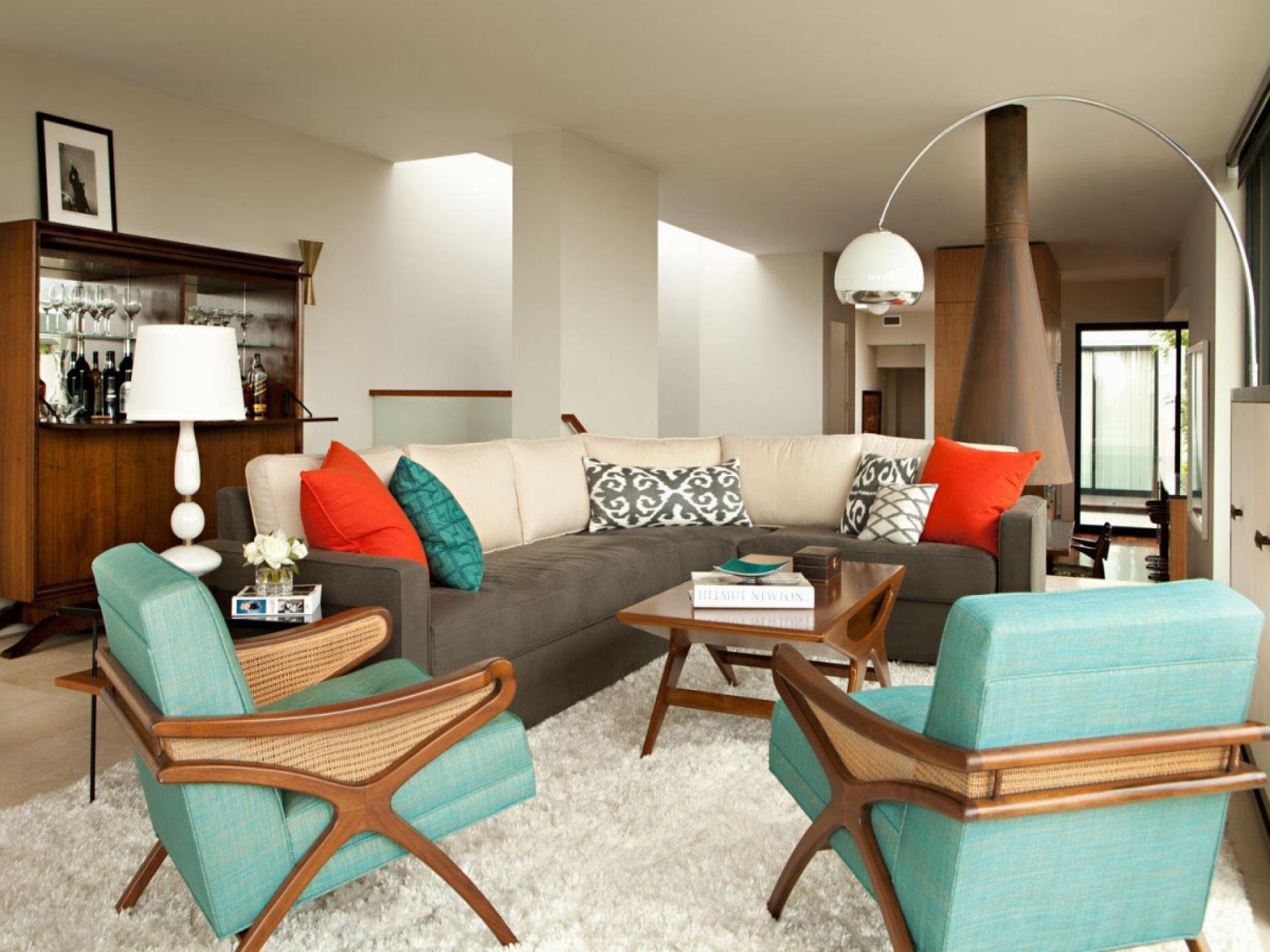 Дизайн бирюзовой гостиной в современном стиле
