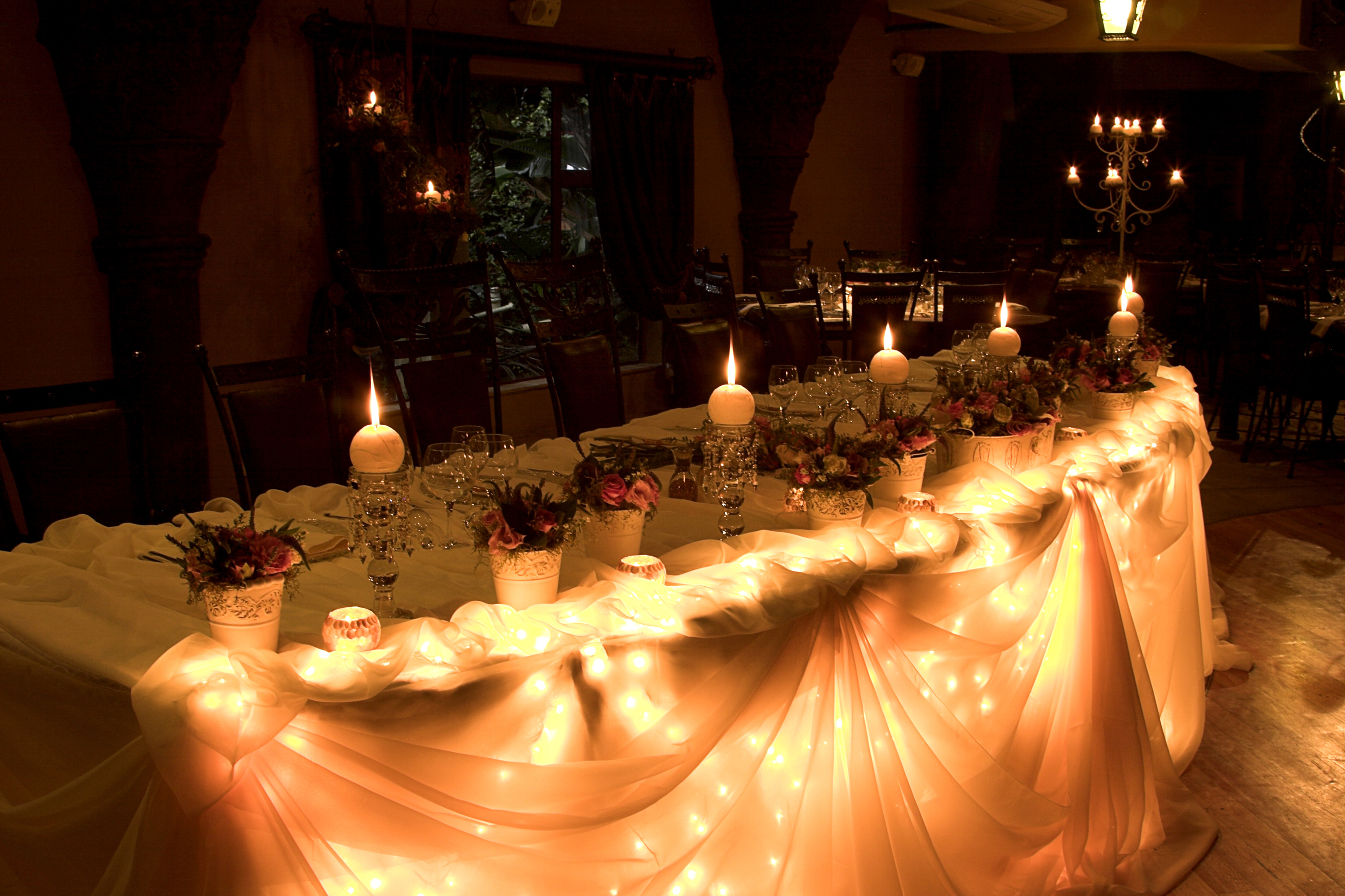 Декор стола свечами и подсветкой