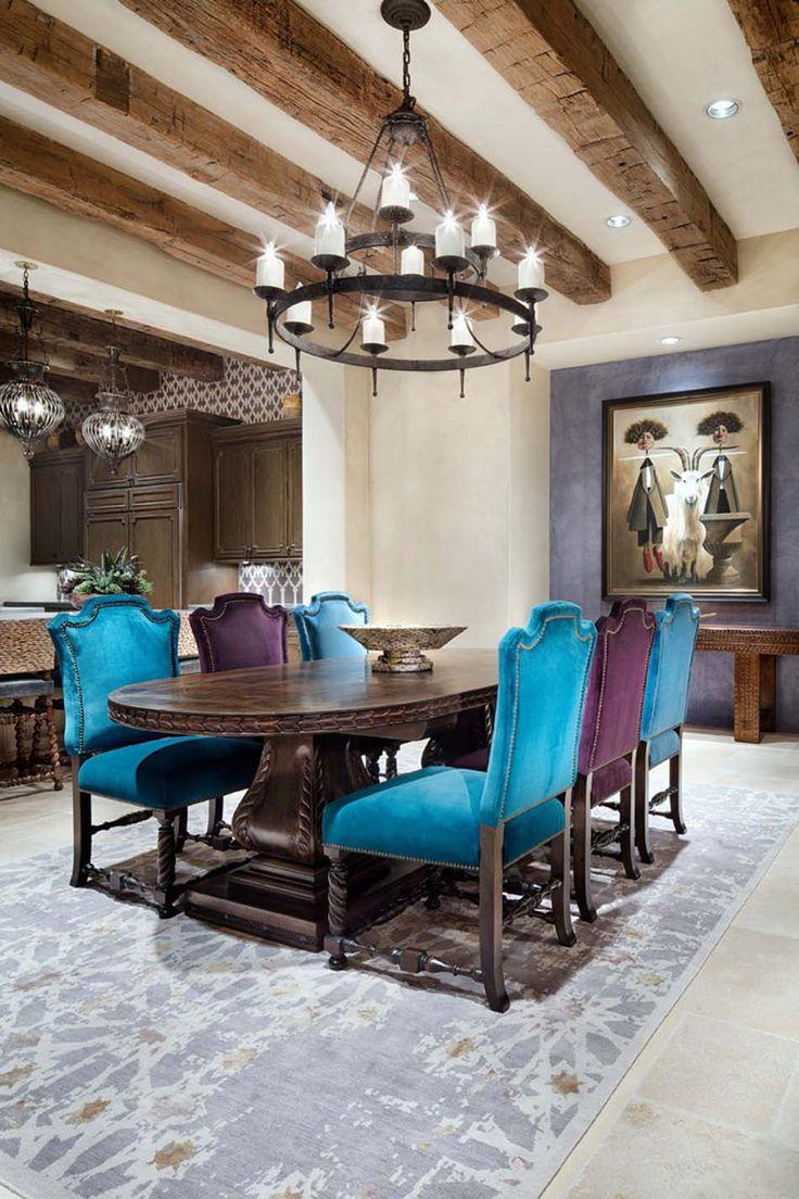 Дизайн бирюзовой гостиной столовой